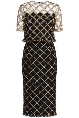 Oscar de la Renta Women's Embroidered Illusion Shoulder Lurex Tweed Pencil Dress - - Size 4