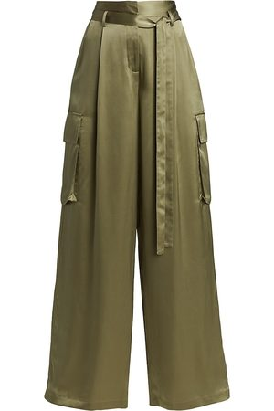 Halston Heritage Women's Noa Charmeuse Cargo Pants - Celadon - Size 2