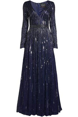 Mac Duggal Women Long sleeves - Women's Long-Sleeve Bead & Sequin Gown - Midnight - Size 8