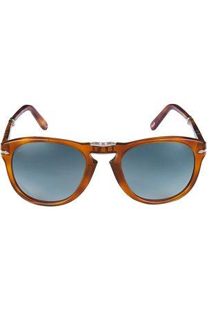 Persol Men's 54MM Round Sunglasses - Light Havana