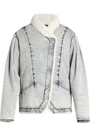 Isabel Marant Women's Dipauline Denim Shearling Jacket - Light Grey - Size 8