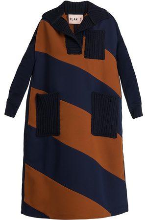 Plan C Women's Striped Cape - Navy - Size 2