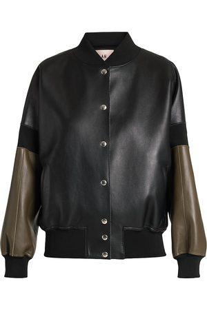 Plan C Women's Leather Bomber Jacket - - Size 8