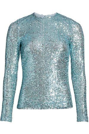 Naeem Khan Women Long sleeves - Women's Crewneck Sequin Long-Sleeve Top - Aqua - Size 12
