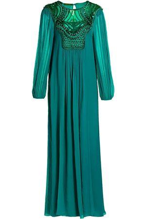 Alberta Ferretti Women Long sleeves - Women's Embellished Bodice Long Sleeve Organic Silk Chiffon Gown - Sea - Size 12