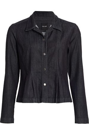NIC+ZOE Women Denim Jackets - Women's Denim Peplum Jacket - Midnight Wash - Size Large