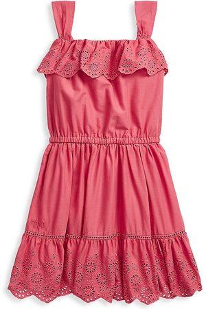 Ralph Lauren Girls Polo Shirts - Little Girl's & Girl's Ruffle Eyelet Cotton Dress - Medium - Size 3