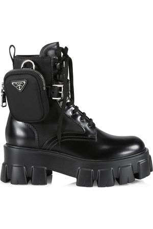 Prada Women's Monolith Leather & Nylon Lug-Sole Combat Boots - Nero - Size 11.5