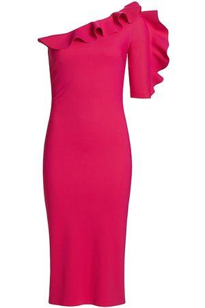 CHIARA BONI Women Bodycon Dresses - Women's Aleece One-Shoulder Ruffle Sheath - Bouganville - Size 16