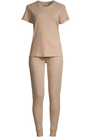 SKIN Women's Organic Pima Cotton Jersey 2-Piece Pajama Set - Almond Heather - Size XS