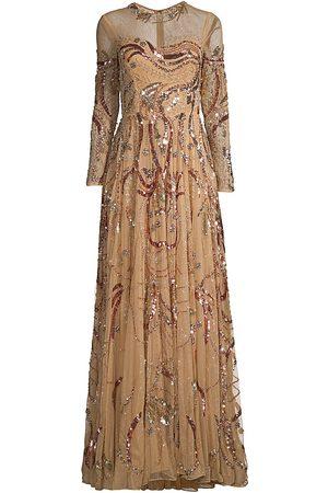 Mac Duggal Women's Embellished Long Sleeve Gown - Caramel - Size 8