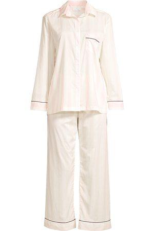 POUR LES FEMMES Women's Striped Cotton Pajama Set - Pearl Port - Size XS