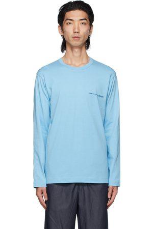 Comme des Garçons Men Long Sleeve - Blue Logo Long Sleeve T-Shirt