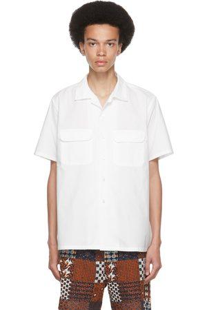 Beams Men Short sleeves - White Pima Cotton Open Collar Short Sleeve Shirt