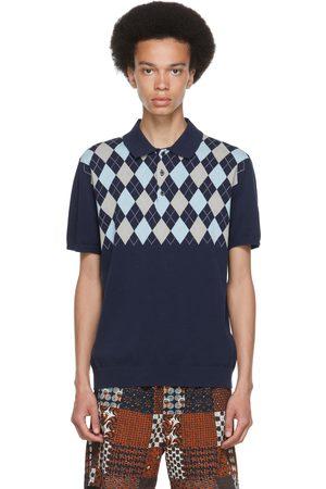 Beams Men Polo Shirts - Navy Argyle Polo