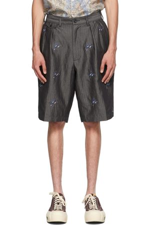 Beams Men Shorts - Grey Herringbone Two-Pleated Embroidered Shorts