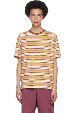Beams Men T-shirts - White & Brown Striped Border T-Shirt