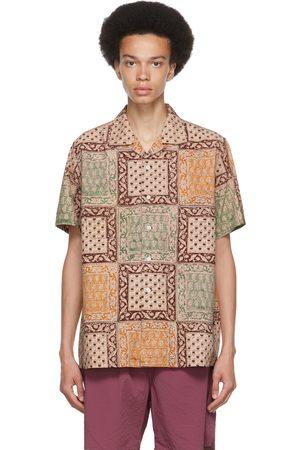 Beams Men Short sleeves - Brown Block Print Open Collar Short Sleeve Shirt