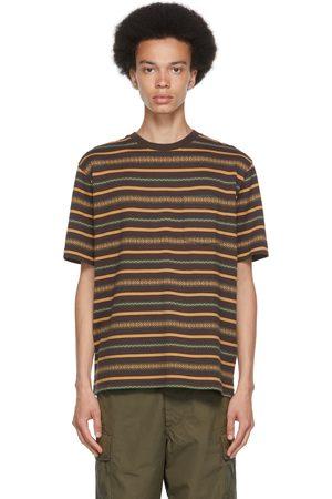 Beams Men T-shirts - Brown Jacquard Stripe Pocket T-Shirt