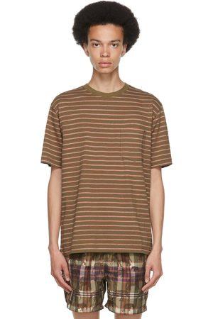 Beams Men T-shirts - Khaki Striped Nep Border T-Shirt