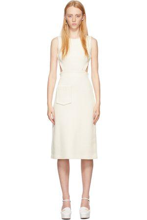 Fendi Women Knitted Dresses - Off-White Knit Cut-Out Dress