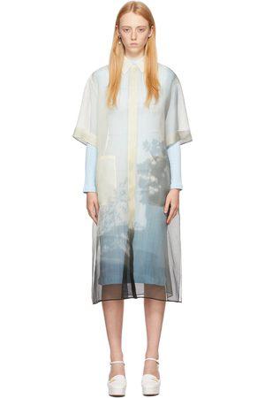 Fendi Women Casual Dresses - Off-White & Black Silk Transparent Shirt Dress