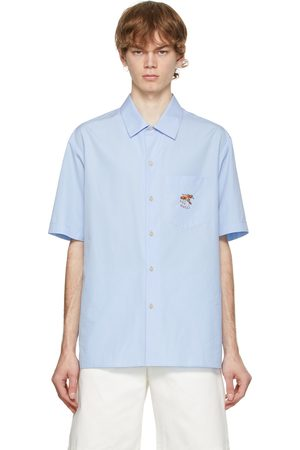 Gucci Men Short sleeves - Blue Embroidered Graphic Short Sleeve Shirt