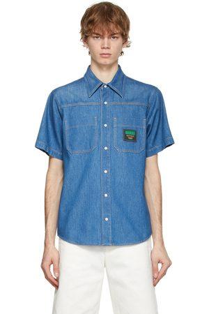 Gucci Blue Denim Boutique Patch Short Sleeve Shirt