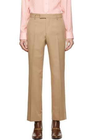 Gucci Men Pants - Tan Gabardine Retro Trousers