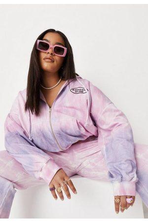 Missguided Women Hoodies - Plus Size Lilac Tie Dye Zip Through Cropped Hoodie
