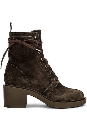 Gianvito Rossi Women Lace-up Boots - Suede Lace Up Boots in Olive