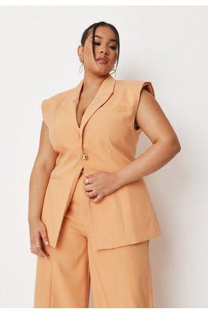 Missguided Plus Size Peach Longline Sleeveless Tailored Blazer