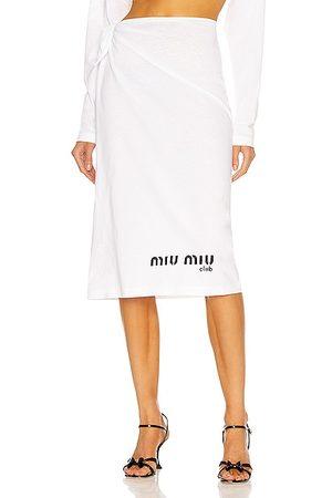 Miu Miu Women Printed Skirts - Jersey Printed Skirt in White