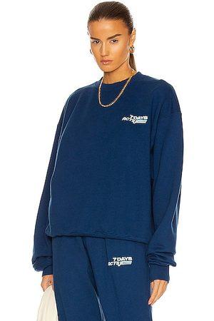 7 DAYS ACTIVE Women Hoodies - Oversized Monday Crew Neck Sweatshirt in Navy