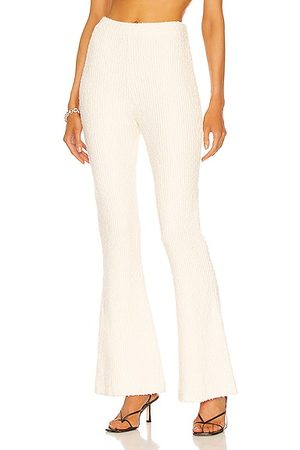 Helmut Lang Rib Flare Pant in Ivory