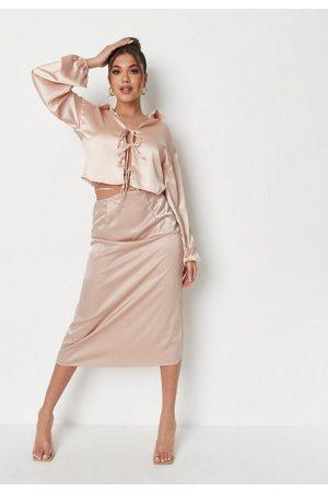 Missguided Ecru Satin Tie Waist Midi Slip Skirt