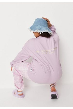 Missguided Plus Size Lilac Graphic Oversized Sweatshirt