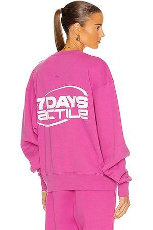 7 DAYS ACTIVE Oversized Monday Crew Neck Sweatshirt in Fuchsia
