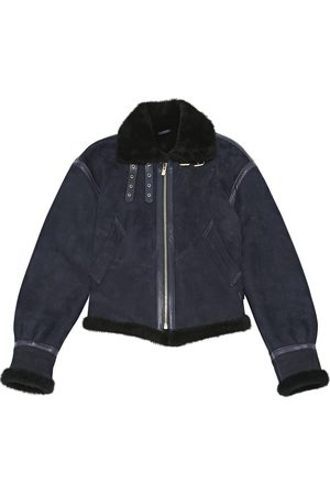 ALEXANDRE VAUTHIER Navy Suede Leather Jackets