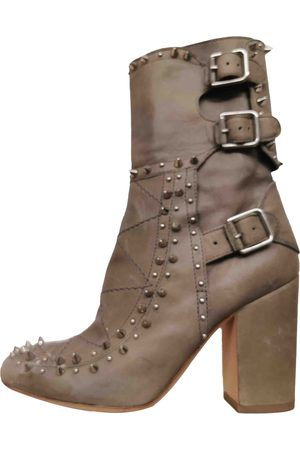 LAURENCE DACADE Khaki Leather Ankle Boots