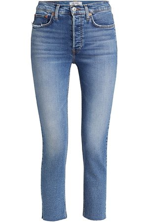 RE/DONE Women High Waisted - Women's High-Rise Ankle Crop Skinny Jeans - Indigo Storm - Size 32