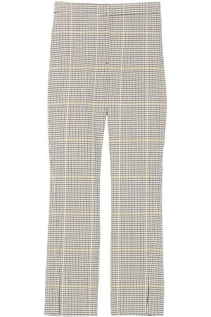 THEORY Women Stretch Pants - Women's Tattersall-Checked Ankle-Slit Trousers - Ivory Multi - Size 4