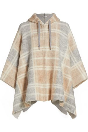 Brunello Cucinelli Women Ponchos & Capes - Women's Plaid Hooded Poncho - Grey - Size Large