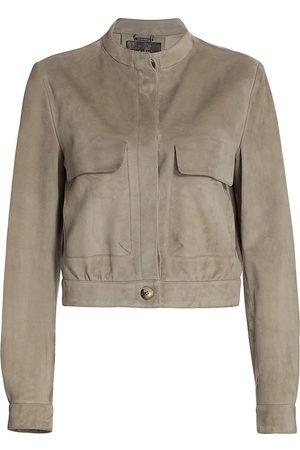Giorgio Armani Women Leather Jackets - Women's Patch-Pocket Suede Jacket - Hazelnut - Size 2