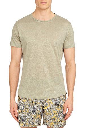 Orlebar Brown Men's Crewneck Linen T-Shirt - Artichoke - Size XL