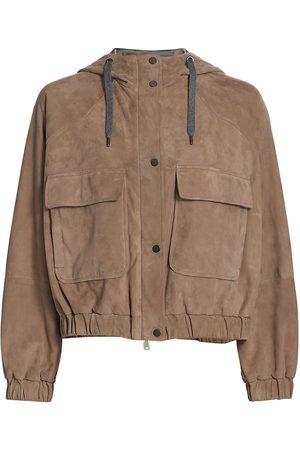 Brunello Cucinelli Women's Leather Jacket - Orzo - Size 8