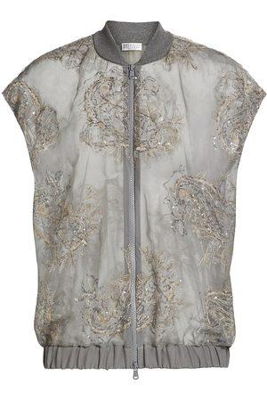 Brunello Cucinelli Women's Embellished Semi-Sheer Sleeveless Bomber Jacket - Grey - Size XXS