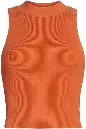 Frame Women's Ribbed Mockneck Sweater - Tangerine - Size Small