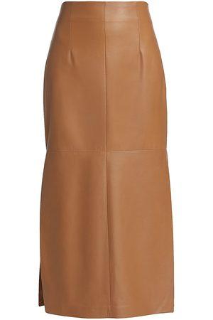 Brunello Cucinelli Women's Leather Side Slit Pencil Skirt - Camel - Size 8