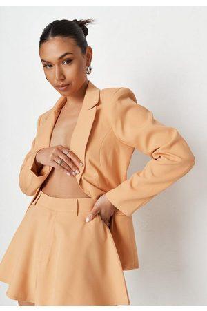 Missguided Women Blazers - Peach Extreme Shoulder Cut Out Back Blazer
